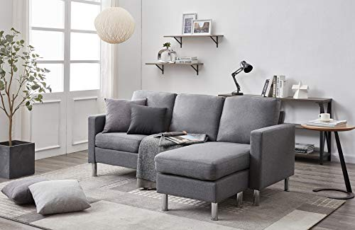 Panana 3 Seater Sofa with Footstool Fabric Grey Sofa for Living Room Modern Couch Corner Sofa with Reversible Chaise (Fabric Light Grey)