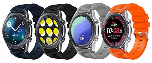 Supore 22mm Correas para Huawei Watch GT2/GT2 Classic/GT2 Pro 46mm, Pulsera de Repuesto Deportiva de Silicona Suave para Samsung Galaxy Watch 3 45mm / Samsung Gear S3 (4 Pack)