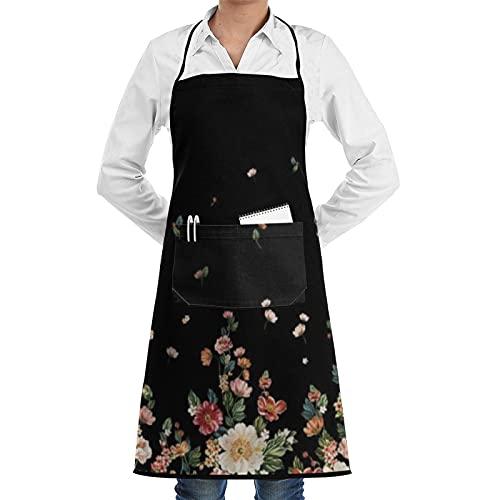 FAKAINU Delantales de cocina para mujeres y hombres, delantal impermeable, flores hermosas, delantal con 1 bolsillo para cocina casera, cocina de restaurante, cafetería, barbacoa en el jardín