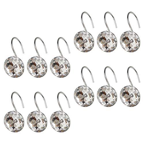 YARNOW 12Pcs Strass Diamant Dusche Vorhang Haken Dekorative Dusche Vorhang Ringe Bling Acryl Roll Vorhang Haken Ringe Bad Dekoration