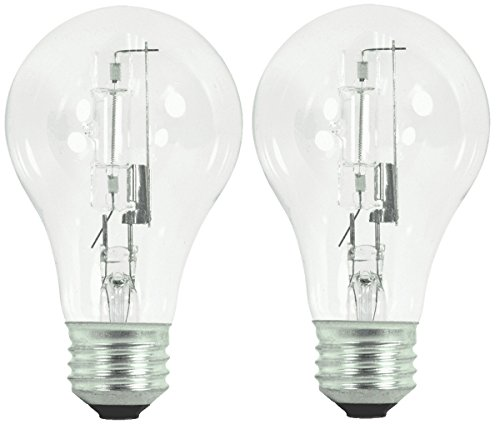 Satco S2403 53 Watt (75 Watt) 1050 Lumens A19 Halogen Warm White 2900K Clear Light Bulb, 2-Pack