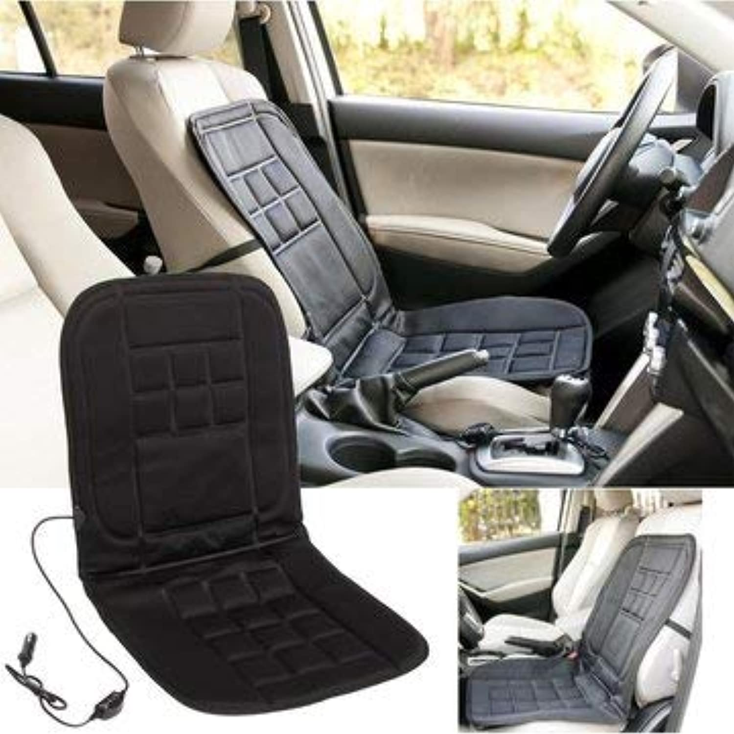 Car Seat Cushion  Car Seat Cushion Cover  Universal 12V Electric Car Front Seat Heating Cover Padded Thermal Cushion Black (Heated Car Seat Cover)