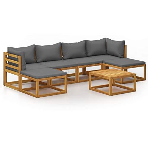 vidaXL Madera Maciza de Acacia Muebles de Jardín 7 Piezas Cojines Mobiliario Hogar Terraza Exterior Sofá Mesa Asiento Suave con Respaldo