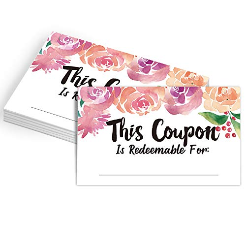 50 Coupon Cards, Floral Blank Gift Certificates Redeem Vouchers for Business, Coupons for Mom, Wife, Husband, Business - Vouchers, Business Services Coupon to Offer Customer Rewards and Incentives