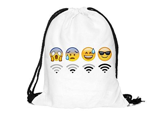 Sacca sportiva a tracolla per l'allenamento, ma non solo. Ultra leggero lifestyle viaggio borsa borsetta palestra zaino a spalla trend sport per uomini donne ragazzi ragazze bambini, Turnbeutel 1 RU-10-50:RU-37 weiß Emoticon WiFi