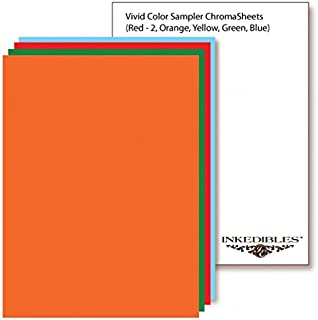 YummyInks ™ Brand: Frosting ChromaSheets 10 sheets - 8.5 x 11 inches - 2 each Red, Orange, Yellow, Green, Blue