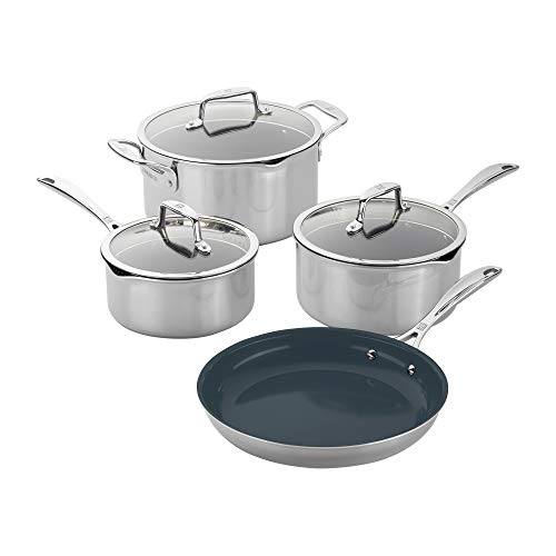 of zwilling j a henckels cookware sets ZWILLING Clad CFX 7-pc Stainless Steel Ceramic Nonstick Cookware Set
