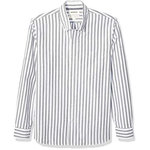 Goodthreads Standard-Fit Long-Sleeve Fashion Stripe Oxford Shirt Button-Down-Shirts, Navy Wide, US (EU XL-XXL)