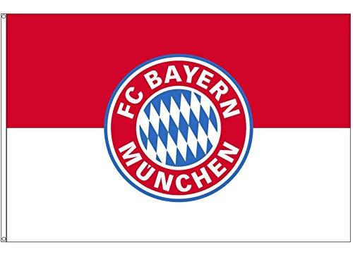 FC Bayern Fahne Hissflagge Originalware 60 x 90 cm Motiv Logo mit 2 Ösen + 2 Karabinerhaken