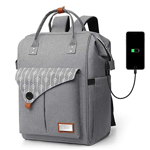 Rucksack Damen, Laptop Rucksack für 15.6 Zoll Laptop Schulrucksack mit USB Ladeanschluss für Arbeit Wandern Reisen Camping, für Mädchen, Oxford, 20-35L (Gray)