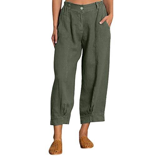 Auiyut Damen Hose Leinenhose Freizeithose Lang Elegant Locker Leinenhose Haremshose Yogahose Weitem Bein Lange Hosen mit Taschen