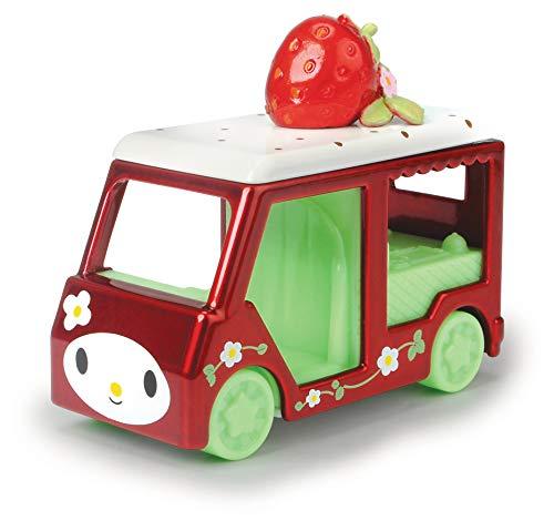 Dickie Toys 253242001 Hello Kitty Cupcake + Melody Strawberry Spielzeugauto, 2er Set, Fahrzeuge Aluguss, Figuren herausnehmbar, Fahrzeuglänge: 6 cm, Figurgröße: 2,5 cm, ab 3 Jahren, Rosa