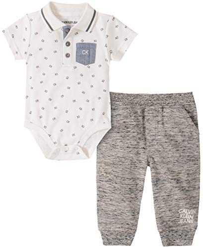 Calvin Klein Baby Boys' 2 Pieces Pants Set, Cream/Grey, 3-6 Months