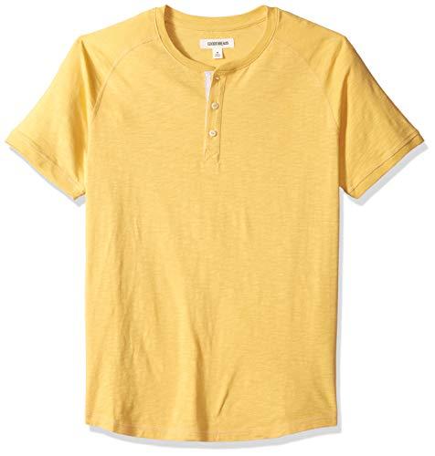 Amazon-Marke: Goodthreads Herren Henley-Shirt, Kurzarm, leicht, aus Slub-Baumwolle, Gelb (Gold Gol), US S (EU S)
