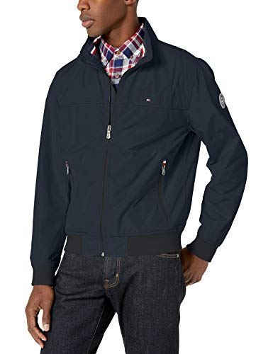 Tommy Hilfiger Men's Performance Faux Memory Bomber Jacket, Navy Unfilled, Large
