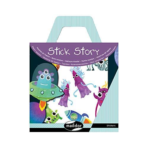 Maildor AF009O - Une valisette Stick'story comprenant 2 décors + 4 planches de stickers repositionnables, Monstres (34 stickers)