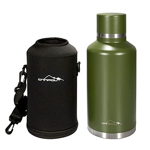 Flytise Borraccia da 2 l in acciaio inox isolata sottovuoto, con borsa per il trasporto, per campeggio, escursioni, picnic,