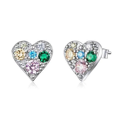 HumoliStore Pendientes de corazón completo de las señoras, Tamaño: 0.9 * 0.9 cm, 925 Pendientes de plata esterlina Pendientes, regalo del día de San Valentín Mano de obra exquisita, cómoda de llevar