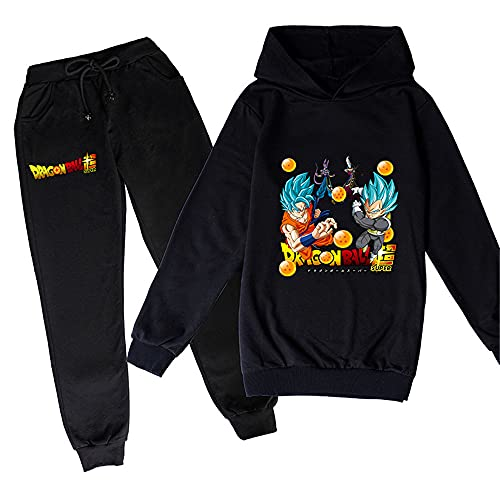 ZKDT Sudadera unisex con capucha y diseño de dragón y balón de fútbol para niñas y niños, de manga larga y pantalón de chándal 3 a 14 Diseño 7 120 cm