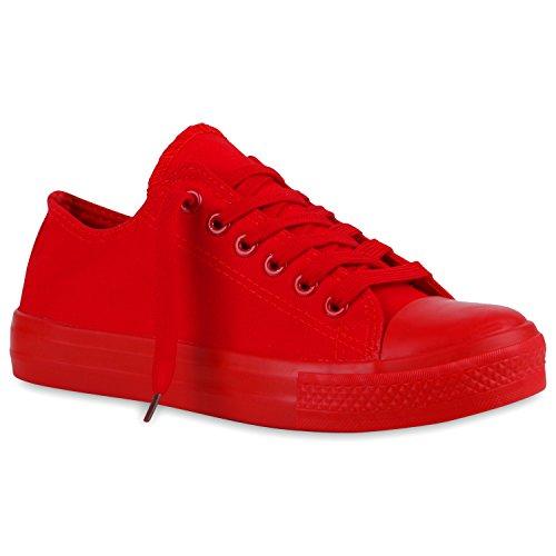 stiefelparadies Damen Sneakers Turn Freizeit Low Sneaker Übergrößen Prints Glitzer Denim Schuhe 120360 Rot Autol 38 Flandell