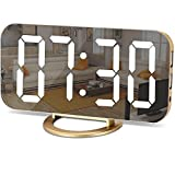 Digital Alarm Clock,LED and Mirror Desk Clock Large Display,with Dual USB Charger Ports,3 Levels Brightness,12/24H,Modern Electronic Clock for Bedroom Home Living Room Office - Gold