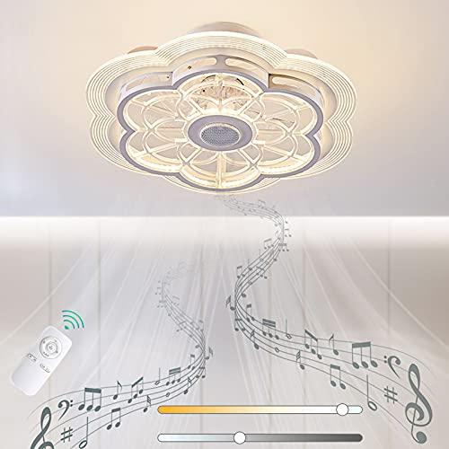 VOMI Ventilador de Techo con Luz y Bluetooth Altavoz 80W LED Regulable con Mando a Distancia Música Lámpara de Ventilador Silenciar Ventilador Forma de Flor 3 Velocidades de Viento Ajustables