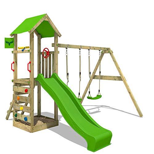 FATMOOSE Parque infantil de madera KiwiKey Kick XXL con columpio y tobogán, Torre de escalada da exterior con arenero y escalera para niños