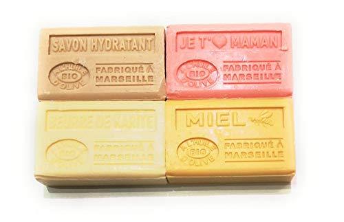 Label Provence - Lot de 4 savons au lait d'anesse BIO ; Savon hydratant, Miel, Je t'aime maman et Beurre de karité. 4x125g