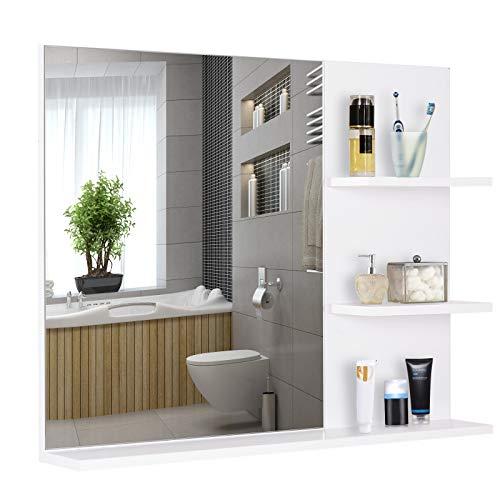 kleankin Badspiegel mit 3 Ablagen, Wandspiegel, Spiegelregal, Badezimmer, MDF, Weiß, 60 x 10 x 48 cm
