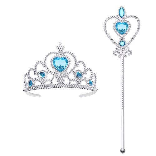 Vicloon ELSA Frozen Tiara,Eiskönigin Krone und Zauberstab ELSA Dress Up Zubehör Set für Party, Cosplay