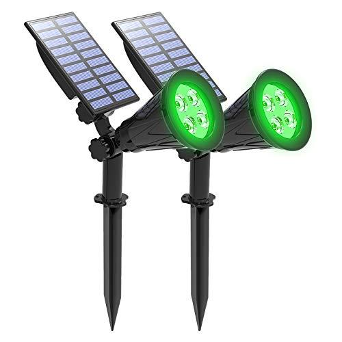 Green Solar Lights, T-SUNUS IP65 Waterproof 4 LED Solar Spotlight Wall Light, Auto-on/Off Security Light Landscape Light for Tree,Patio,Yard,Garden,Driveway,Pool Area (2 Pack Green)