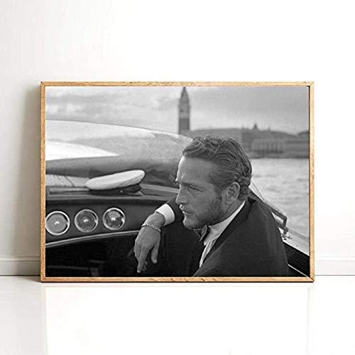 YYLPRQQ Paul Newman, Impresiones Fotográficas En Blanco Y Negro, Foto Clásica De Estrella De Cine, Arte De Pared, Pinturas En Lienzo, Póster De Moda Vintage, Decoración-50X70Cm