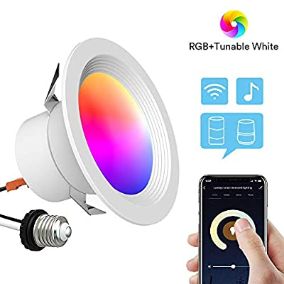 Smart Recessed Lighting - Lumary 4 inch WiFi Led Downlight Color Changing Can Light Music Sync 9W(65W Equivalent) 810lm Compatible with Alexa Google Assistant IFTTT No Hub Required