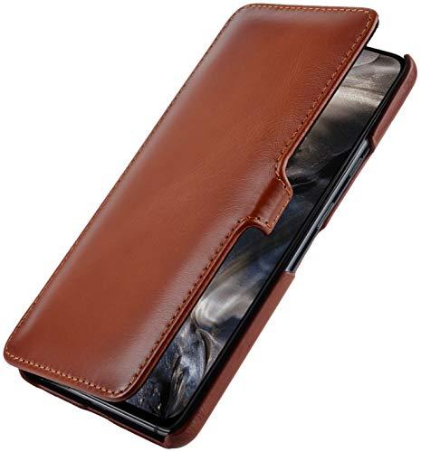 StilGut Book Hülle entwickelt für OnePlus Nord Hülle aus Leder mit Clip-Verschluss, Lederhülle, Klapphülle, Handyhülle - Cognac Antik