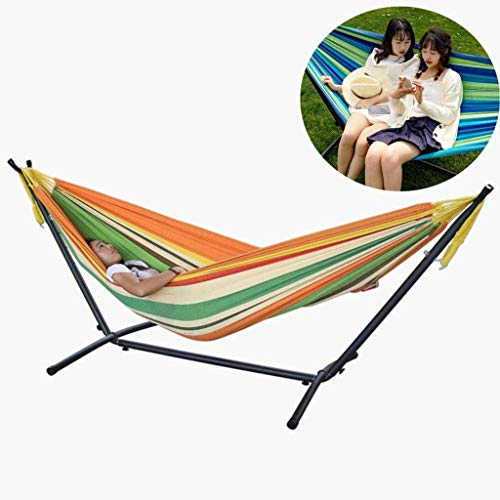 KAIGE Hammock with Stand,Double Hammock at 87X59inch,Sturdy Iron Frame,with Double-Rail Base,Load Capacity,Brown WKY (Color : Orange)