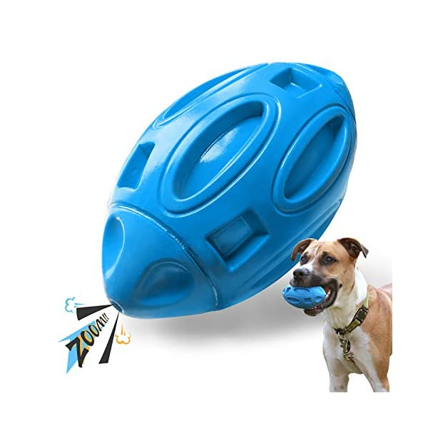 EASTBLUE Squeaky Dog Toys forAggressiveChewers: Rubber Puppy Chew Ball with Squeaker, Almost Indestructible and Durable Pet Toy for Medium and Large Breed