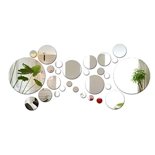 JNCH 28pcs Stickers Muraux Miroirs Rond Décoratifs Cercle Miroir Autocollant 3D Acrylique Deco Mural Amovible pour Salon Chambre Maison Décoration Intérieur (Dia:2-13.5cm)