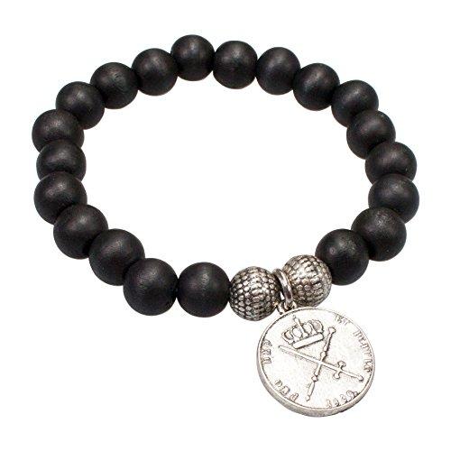 Alpenflüstern Trachten-Holzperlen-Armband Münze Schwarz HAB001
