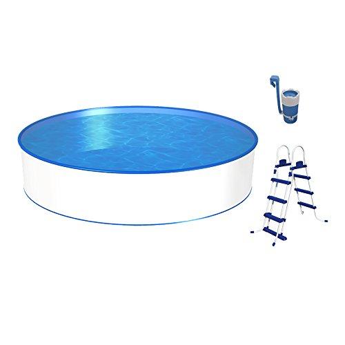 POWERHAUS24 Poolset, Größe & Tiefe wählbar, Aufstellbecken mit 0,3mm Stahlwand, Blaue Poolfolie, stabile Sicherheitsleiter und Kartuschenfilter 1,7m³/h-350 x 90cm