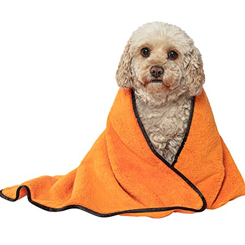 Glart T44WG - Absorbente y suave toalla de baño de microfibra para perros y mascotas de 90 x 60 cm, color naranja