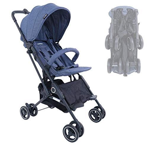 FUXTEC faltbarer Kinder Buggy FX-HD788 Blau Flugzeug Handgepäck geeignet, mit Schwenkrädern, Liegefunktion, Sicherheitsbügel + 5-Punkte-Sicherheitsgurt und Feststellbremse - Das Original mit Qualität!