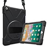 ProCase Bumper iPad 9.7 2018 2017, Carcasa Rugosa con Soporte Rotativo Asa de Mano Correa ...