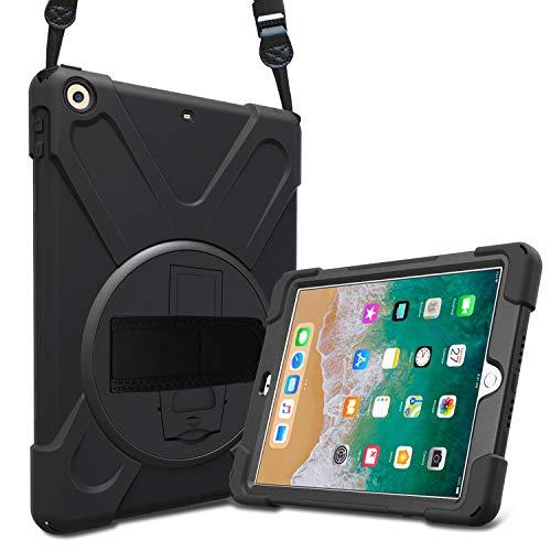 ProCase Hülle mit Handschlaufe für iPad 9.7 2018/2017 6/5 Gen Case, 3 in 1 Robust Heavy Duty Stoßfest Hybrid Full Body Schutzhülle Cover mit 360°Drehständer verstellbar Schultergurt -Schwarz