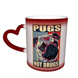 Red Pug no es drogas Café sensible al calor Tazas mágicas Color Café lindo Té Taza de calor cambiante única