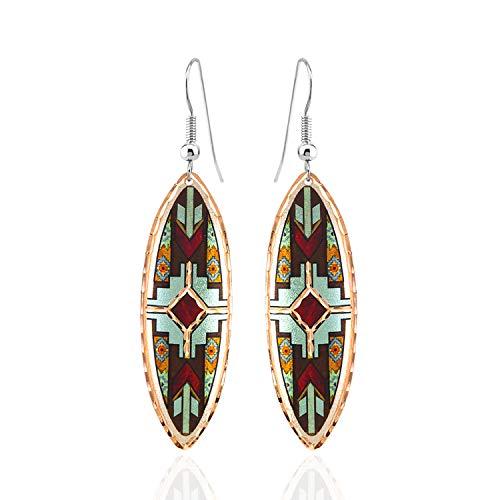Pendientes de punta de flecha de lágrima azteca/pendientes tribales/para mujeres adolescentes y niñas, pendientes de cobre nativos americanos hechos a mano Rojo