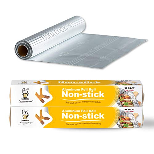 Katbite 2Pack 98 Sq Ft Non Stick Aluminum Foil Roll, 12 Inch Embossed Grilling Nonstick Foil Wrap for Cooking, Roasting, BBQ, Baking, Catering with One-Side Non-Stick Coating(2 Pack)
