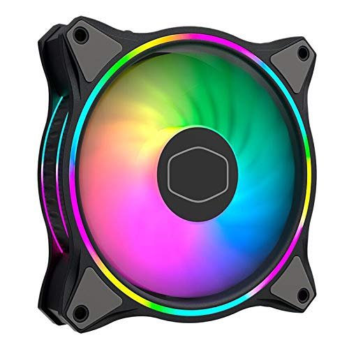 PHILSP Mini Fan MF120 HALO Dual Ring Addressable RGB Fan for Piece Computer Case Liquid Radiator Black