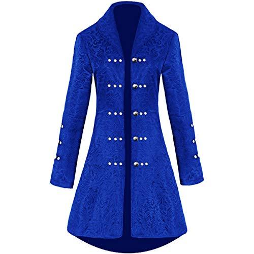 HUNTFORGOOD Damen Steampunk Jacke Gothic Brokat Blazer Mittellang Knöpfe Mantel Party Cosplay Kostüm
