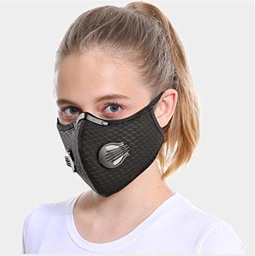 ROXX (Jet Black) Outdoor Cycling Mesh Mask with Changeable Filter, Unisex Anti Pollen Allergens PM2.5 Filters Dust Includes Filter