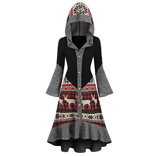 Women Christmas Santa Costumes Mrs Clause Costume Outfit Dress Funny Cosplay Party Velvet Dress with Gothic Hooded Shrug(Red, L)